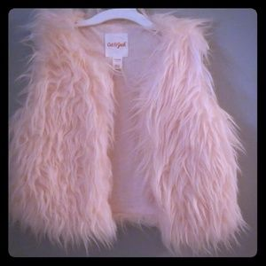 Girls Pink Shaggy Vest